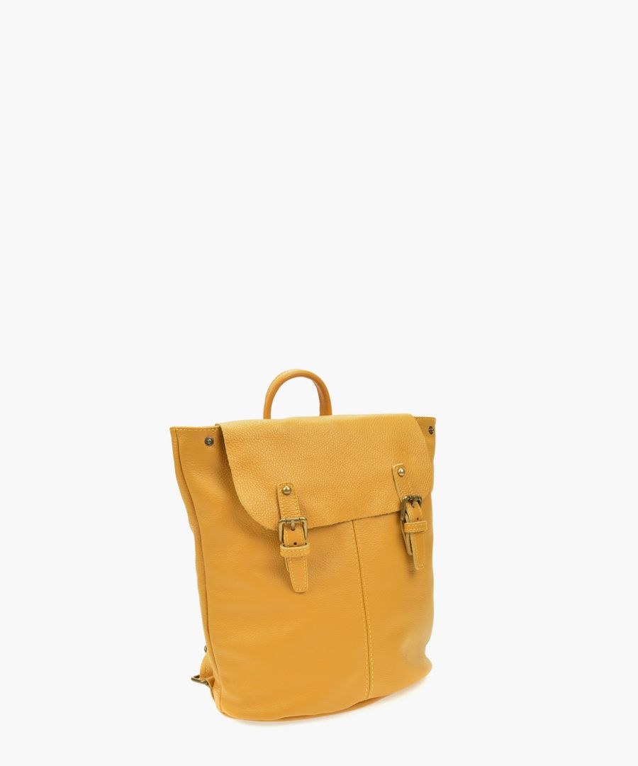 Mustard leather backpack