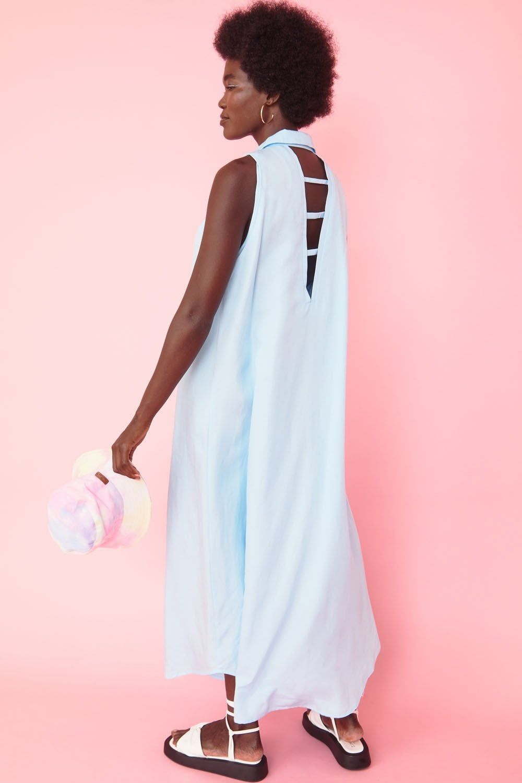 Jayley Blue Lily Linen Blend Dress