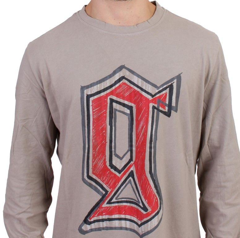 Galliano Gray Crewneck Long Sleeve T-Shirt