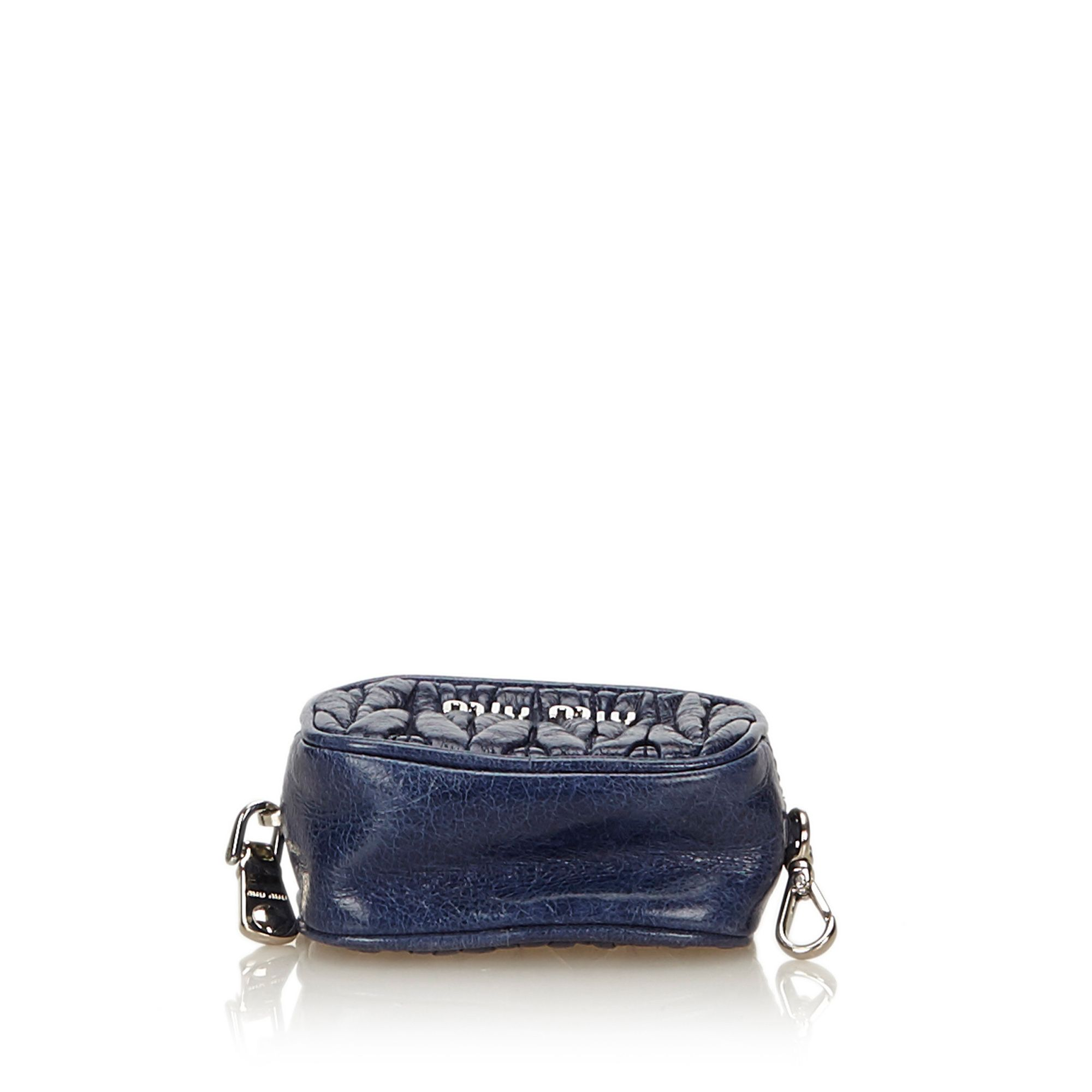Vintage Miu Miu Gathered Leather Coin Pouch Blue