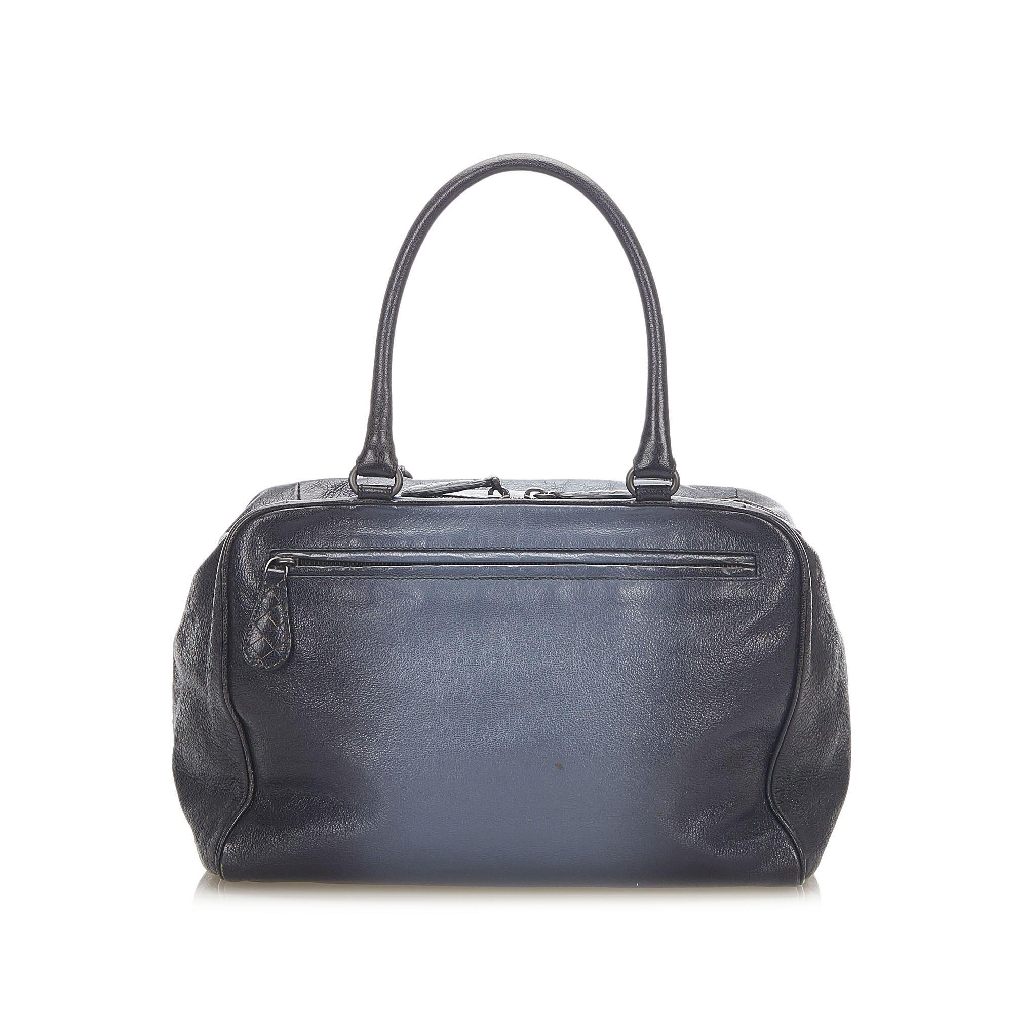 Vintage Bottega Veneta Leather Handbag Blue