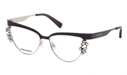 DSquared Cat eye metal Men Eyeglasses Matte Violet / Clear Lens