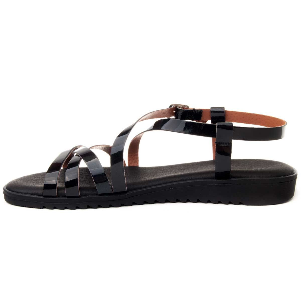 Purapiel Flat Gladiator Sandal in Black