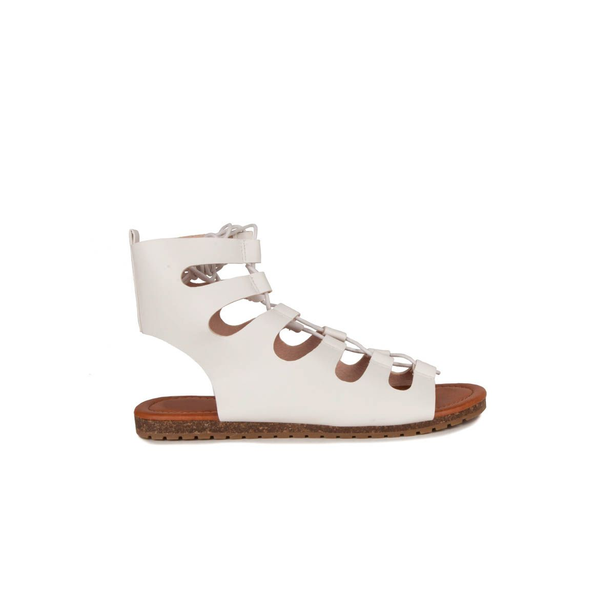 Montevita Lace Up Flat Sandal in White