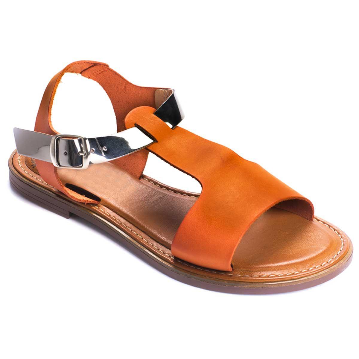 Purapiel Flat Sandal in Orange