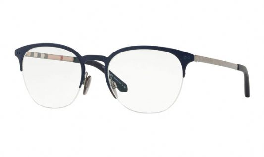 Burberry Rectangular metal Women Eyeglasses Gunmetal / Matte Blue / Clear Lens
