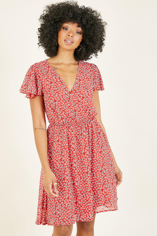 Mela Red Ditsy Floral Wrap Over Dress
