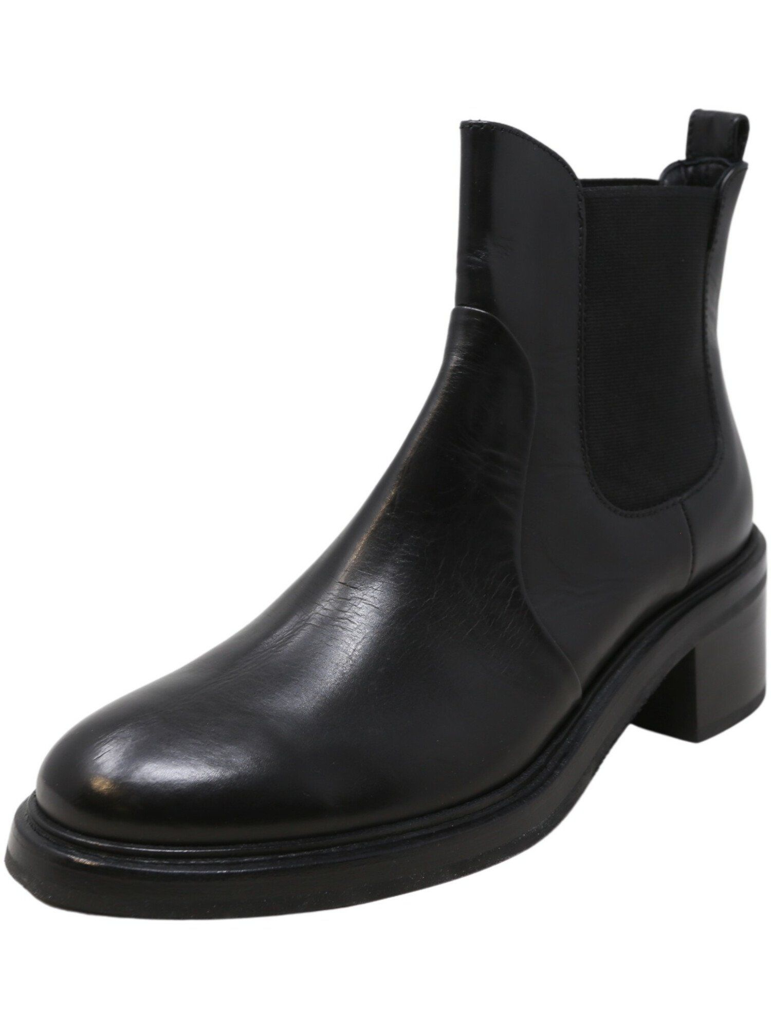 AGL Women's Heeled Chelsea Boots Black Ankle-High Leather Boot - 9.5 M