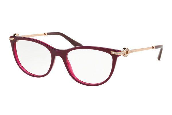 Bvlgari Oval plastic Women Eyeglasses Marc/Violet / Clear Lens