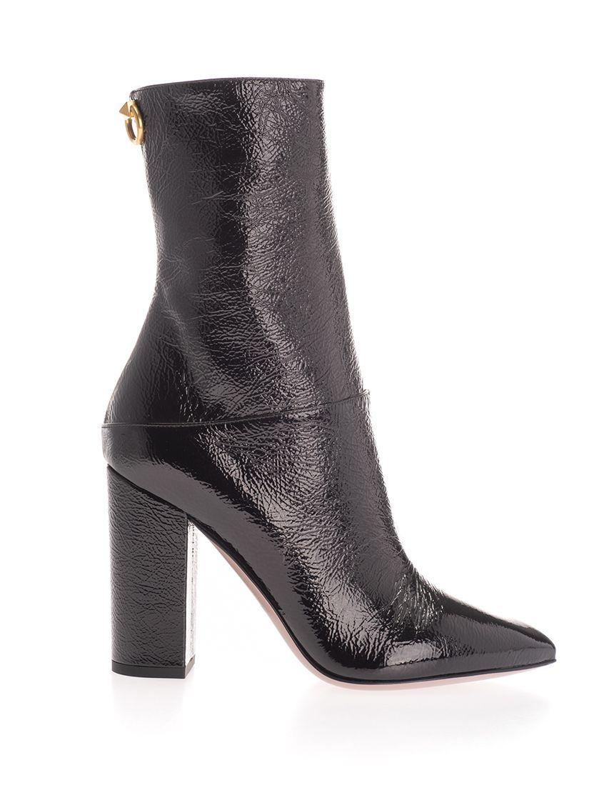 VALENTINO GARAVANI WOMEN'S SW0S0S56XJI0NO BLACK LEATHER ANKLE BOOTS