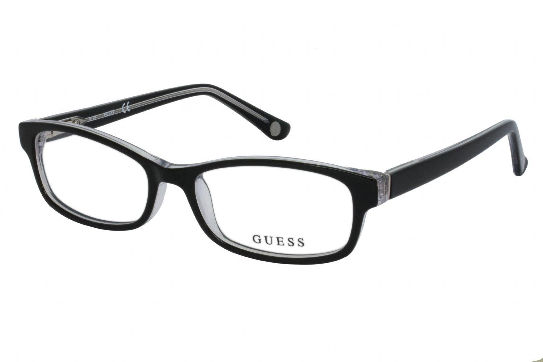 Guess Rectangular plastic Women Eyeglasses Black/crystal  / Clear Lens
