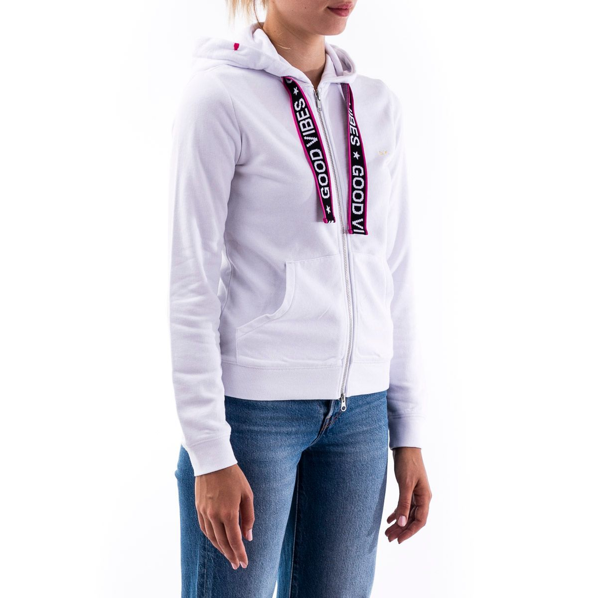 SUN 68 WOMEN'S F3020201 WHITE COTTON SWEATSHIRT