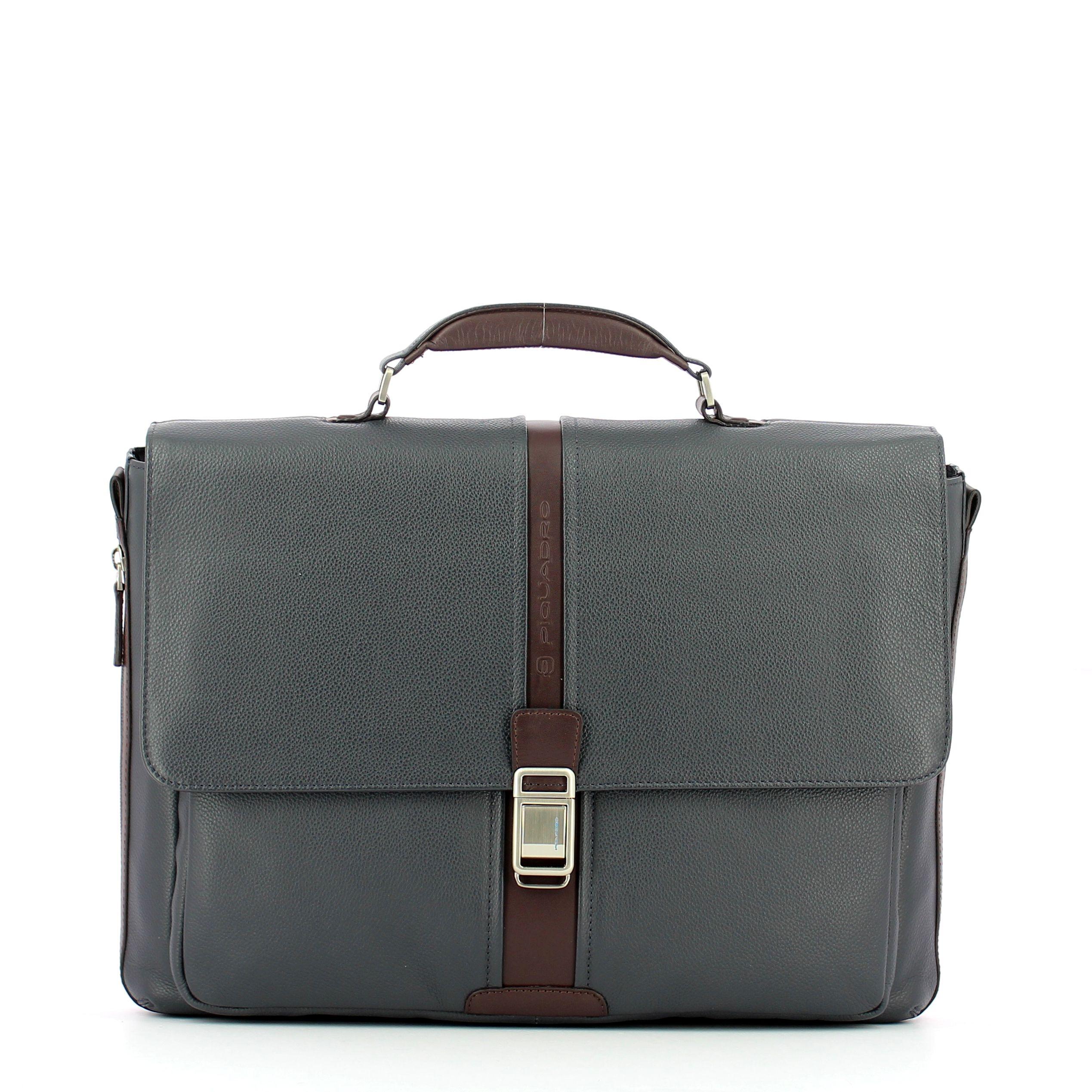 Expandable leather Laptopbag 14.0 Piquadro BLU MARRONE