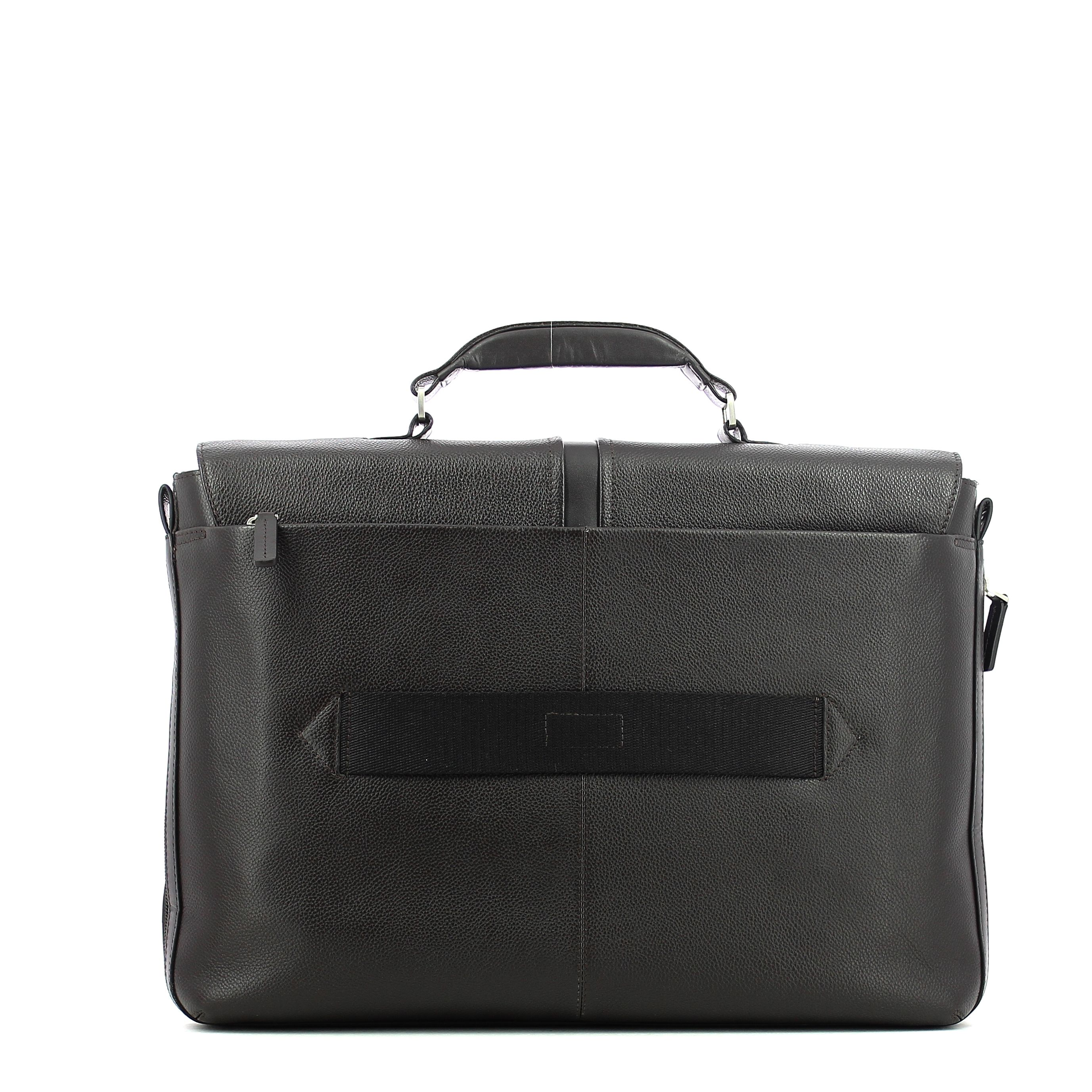 Expandable leather Laptopbag 14.0 Piquadro MARRONE