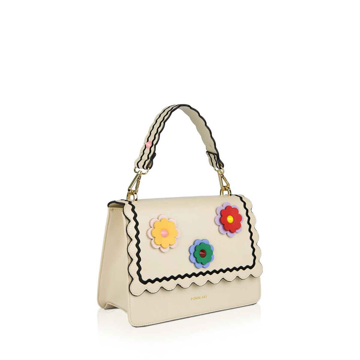Handbag Gwen Flowers Pomikaki CREAM