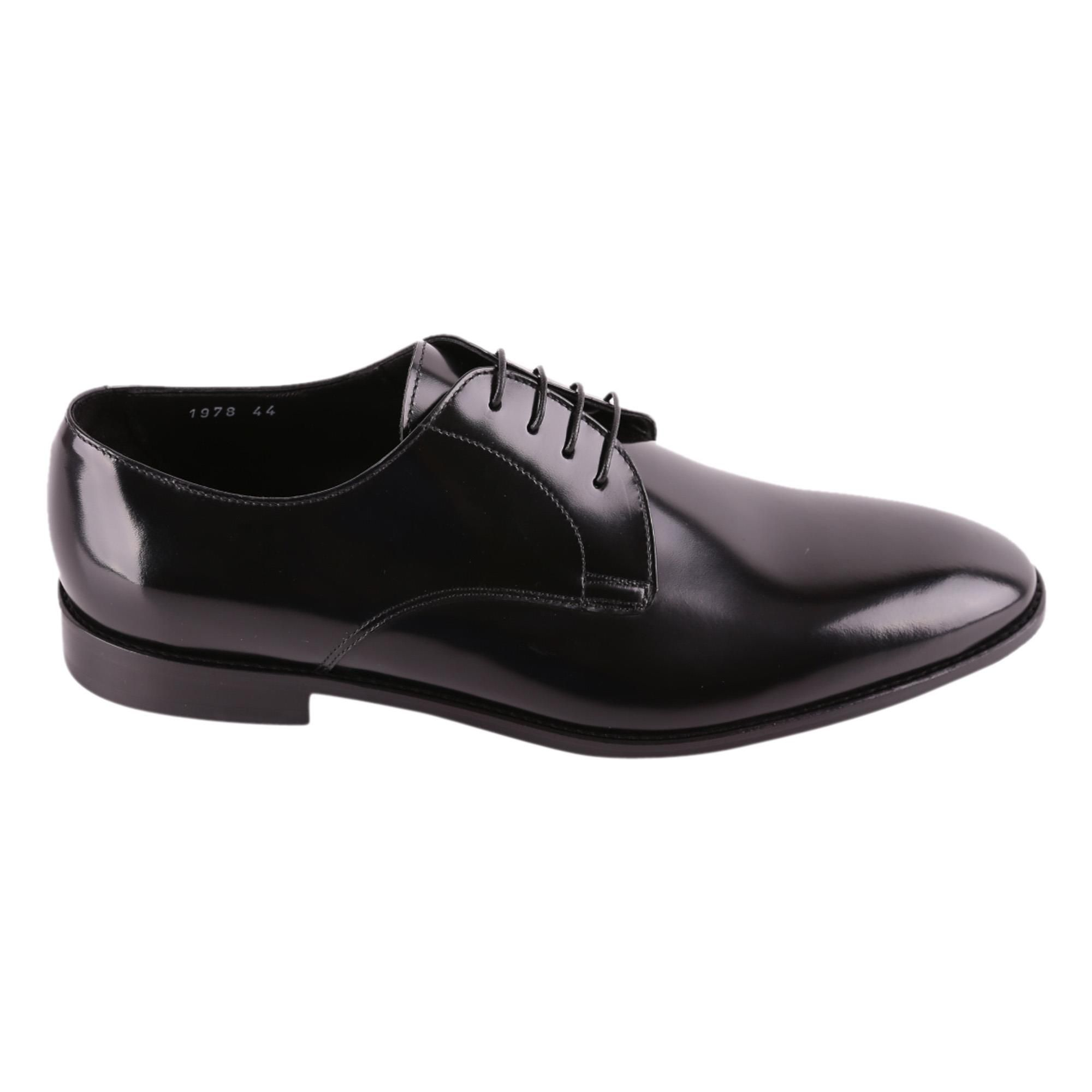 DOUCAL'S MEN'S DU1978FORDUF028NN00 BLACK LEATHER LACE-UP SHOES