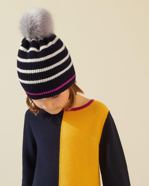 Neon Stripe Pom Hat