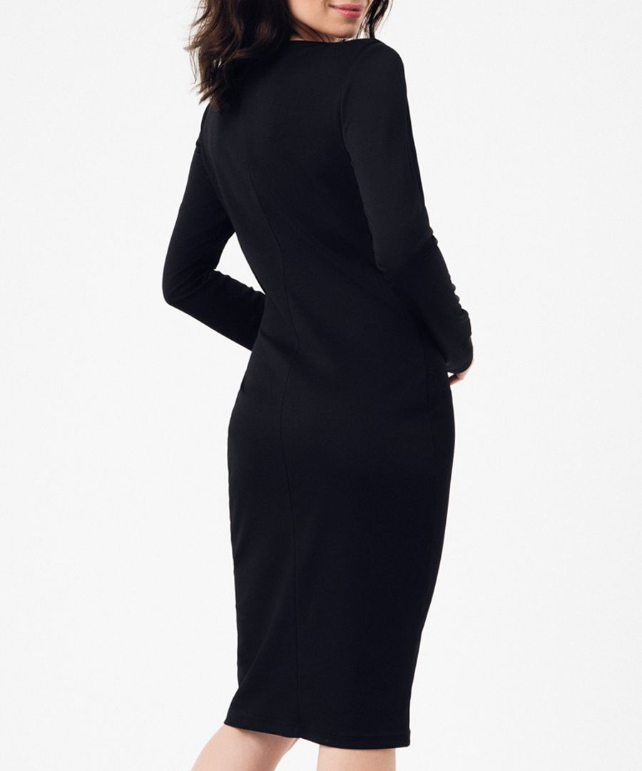 Black v-neck long sleeve dress