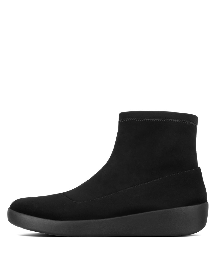 Ottie black faux-leather sock boots