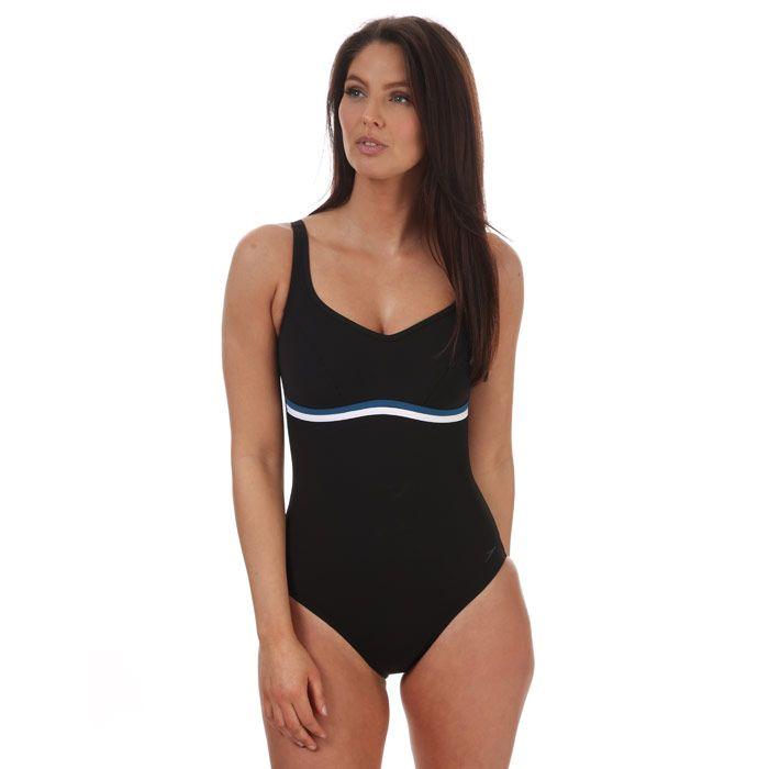 Women's Speedo Sculpture ContourLuxe Swimsuit black blue 14in black blue