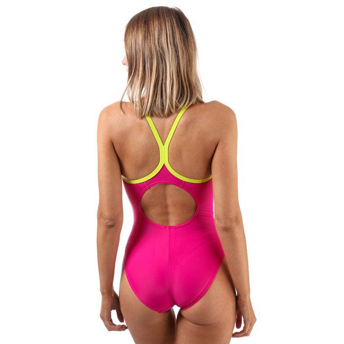 Women's Speedo Splice Thinstrap Racerback Swimsuit in Pink