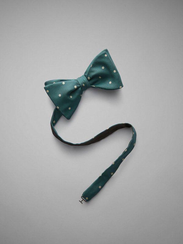 Polka Dot Printed Silk Bow Tie