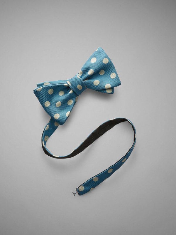 Large Spot Printed Silk Bow Tie