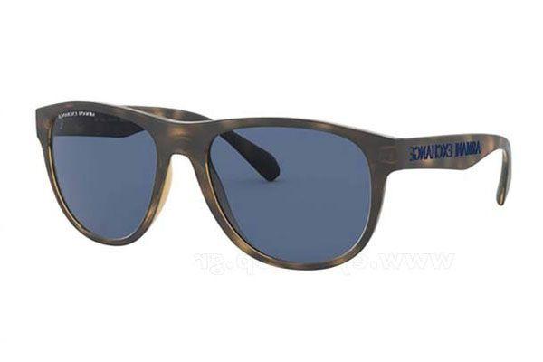 Armani Exchange Rectangular plastic Men Sunglasses Matte Havana / Blue Gradient