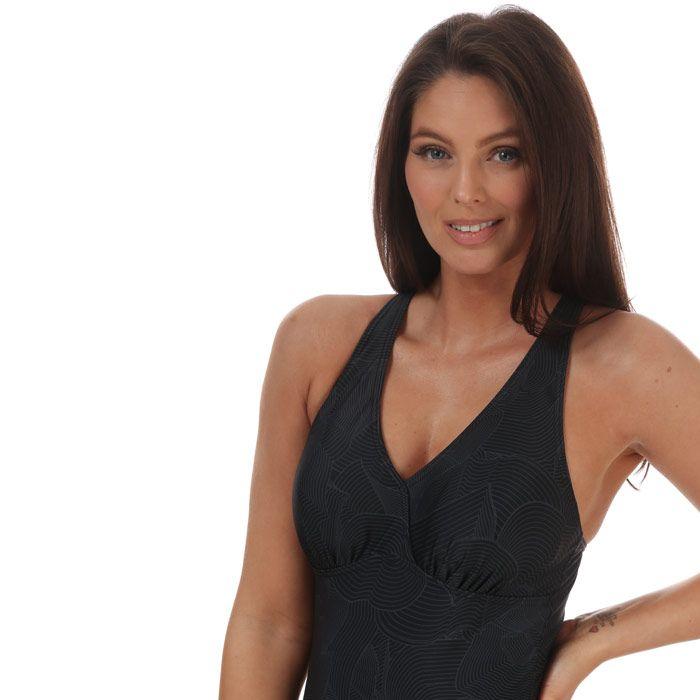 Women's Speedo Crossback Printed Swimsuit Black Grey 12in Black Grey