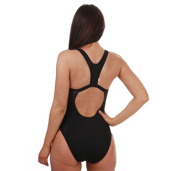 Speedo Women's Boomstar Splice Flyback Swimsuit in Black/Grey