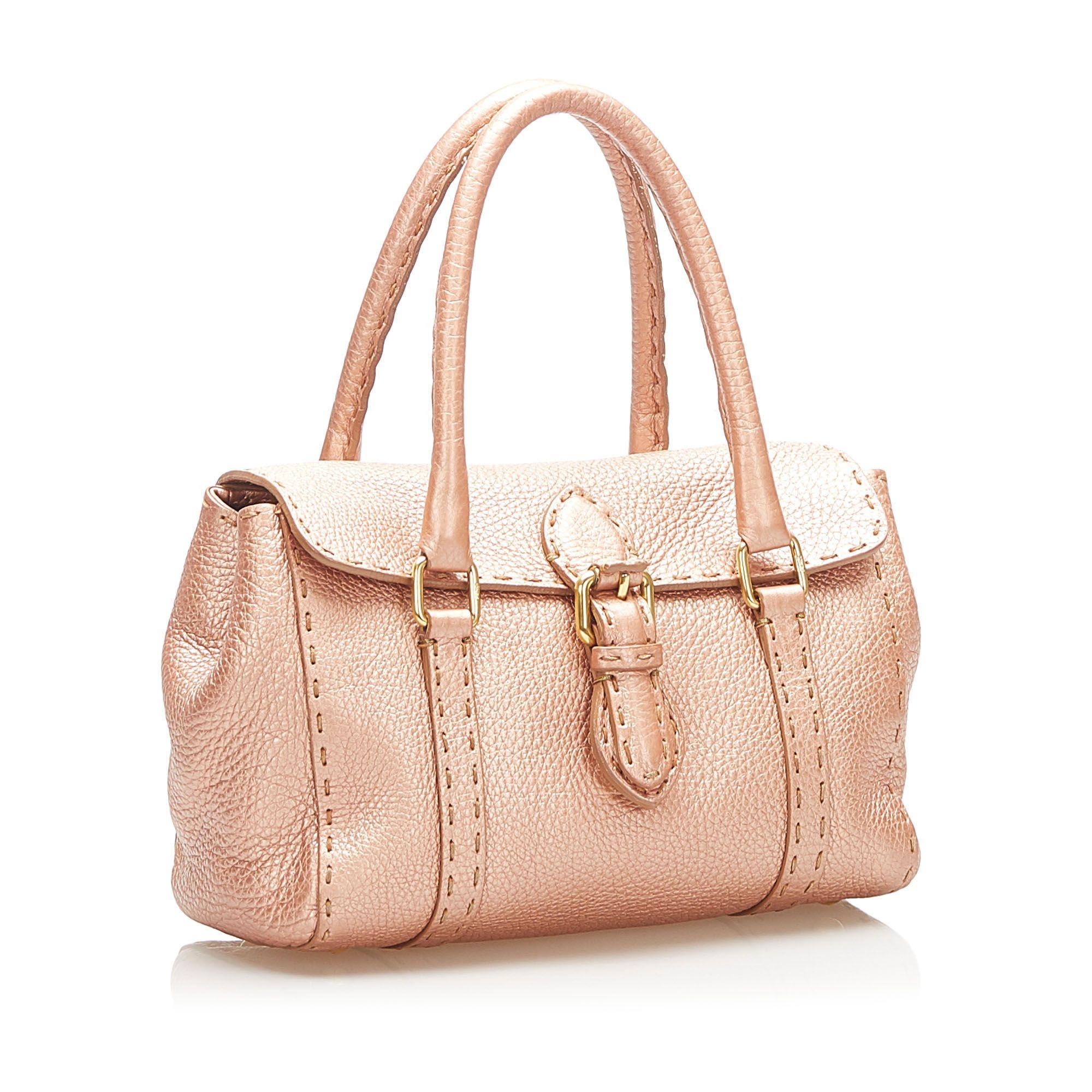 Vintage Fendi Mini Selleria Linda Leather Handbag Pink