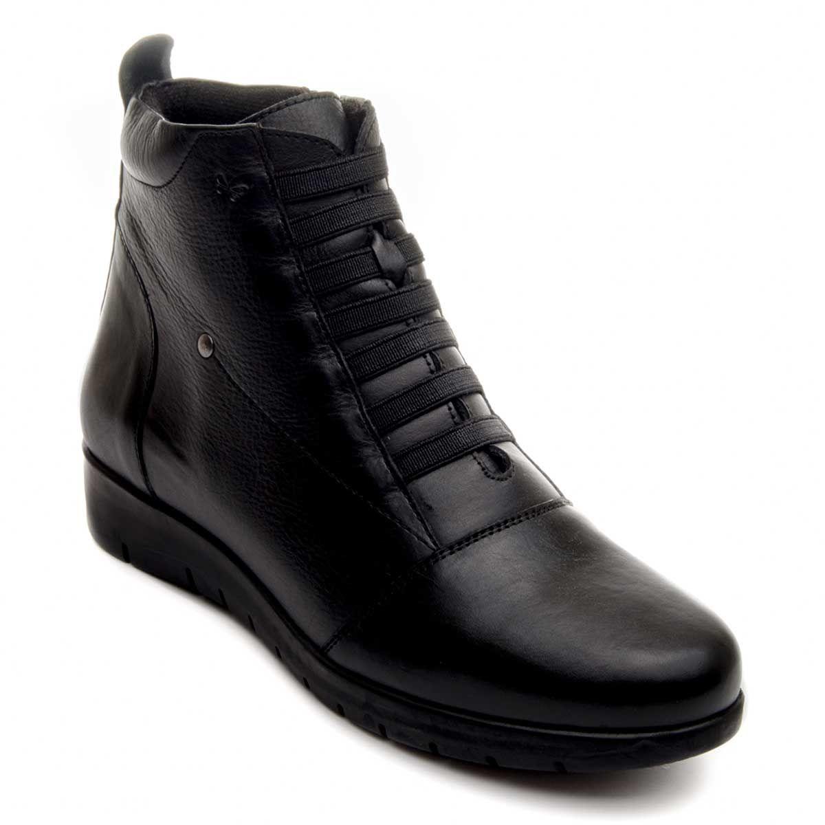 Purapiel Wedge Ankle Boot in Black
