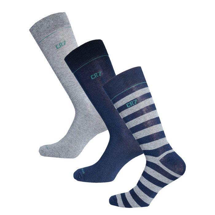 Men's CR7 3 Pack Socks in Navy Grey