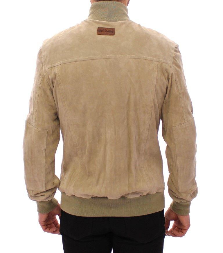 Galliano Beige suede leather jacket coat
