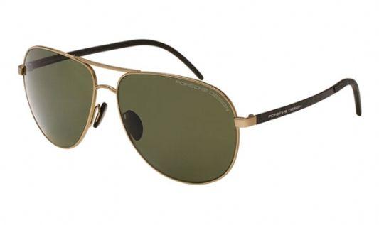 Porsche Avaitor metal Unisex Sunglasses Gold / Grey Green Polarized