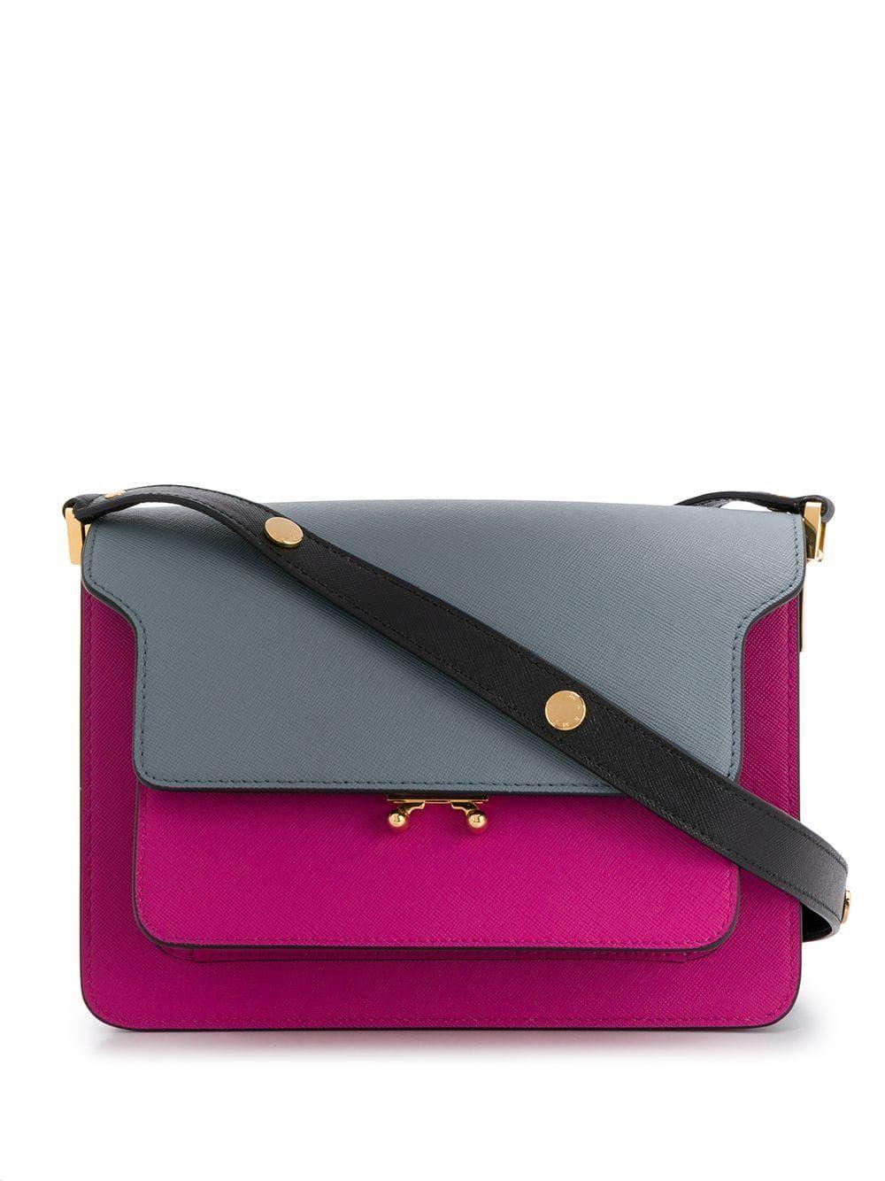 MARNI WOMEN'S SBMPN09U45LV520Z254N PURPLE LEATHER SHOULDER BAG