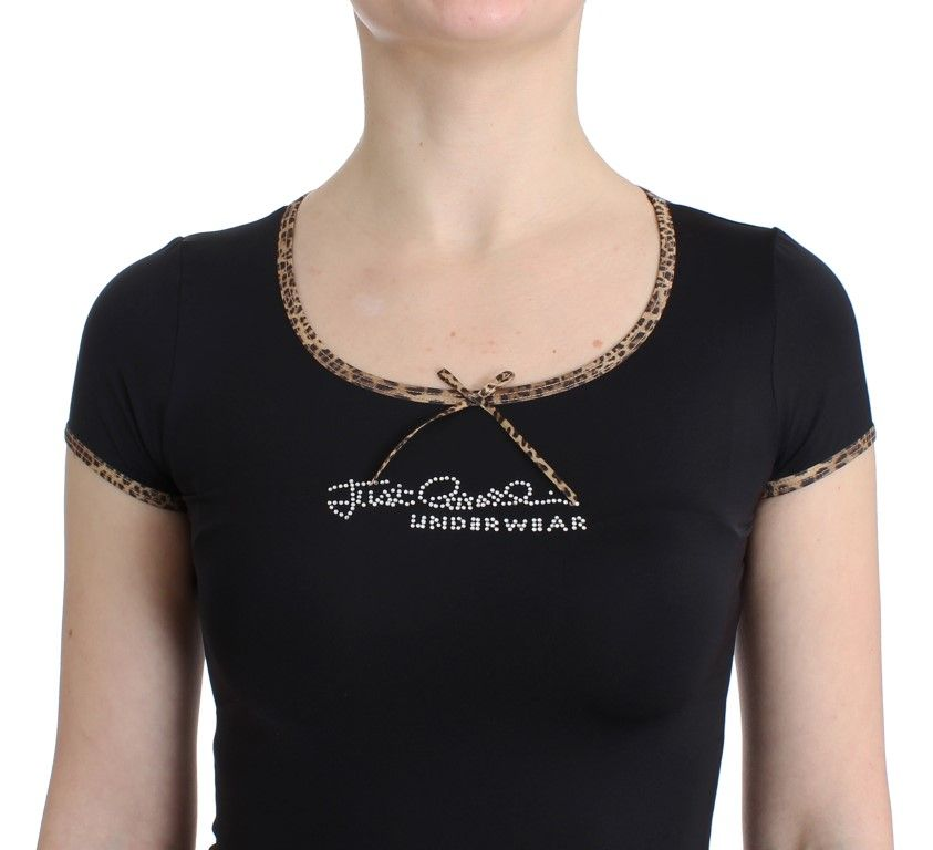 Cavalli Black Nylon Top T-Shirt