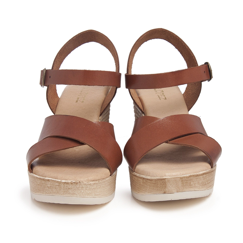 Hight Wedge Leather Sandal for Women Eva Lopez