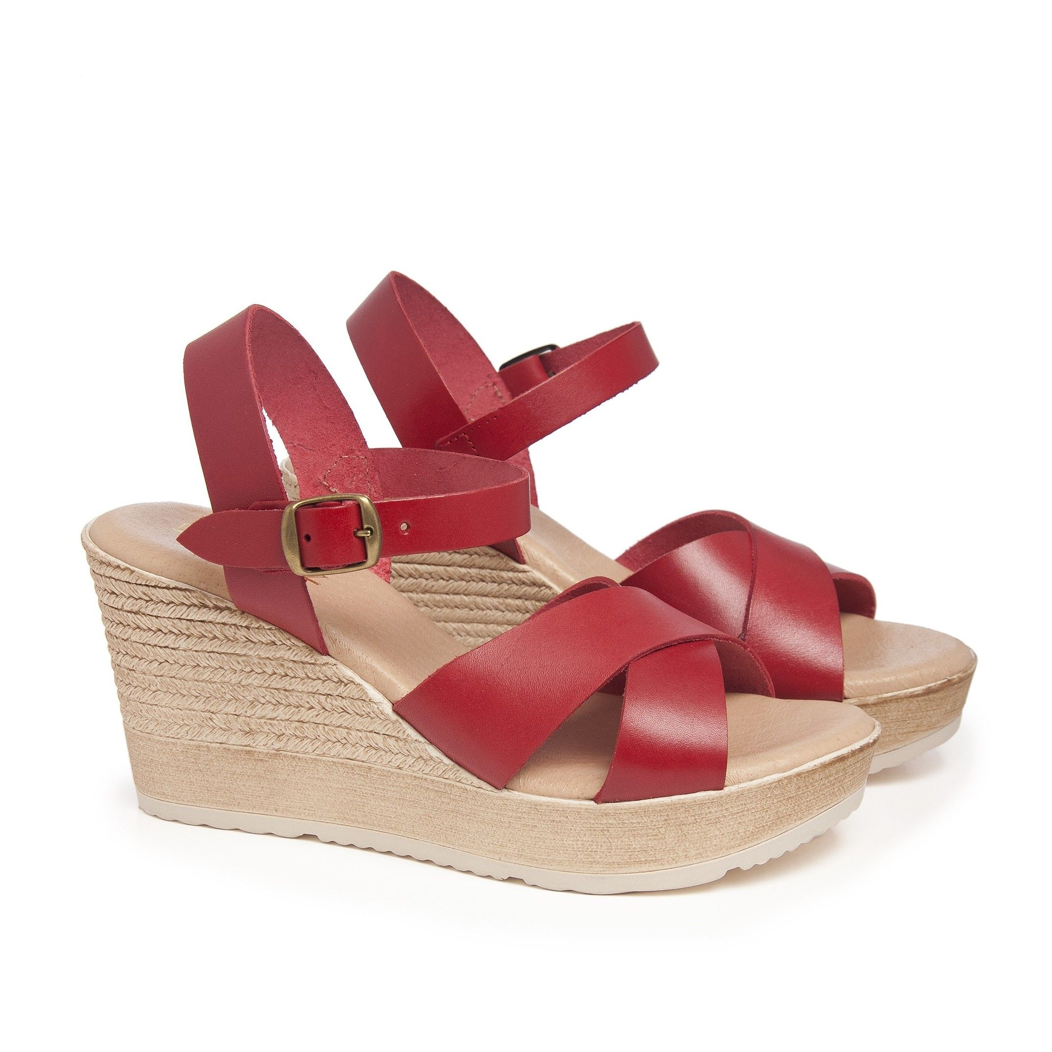 Hight Wedge Leather Sandal for Women Eva Lopez