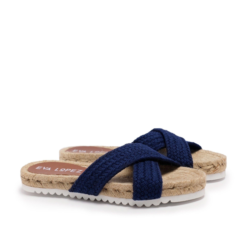 Flat Yute Sandal for Women Navy blue Shoes Eva Lopez