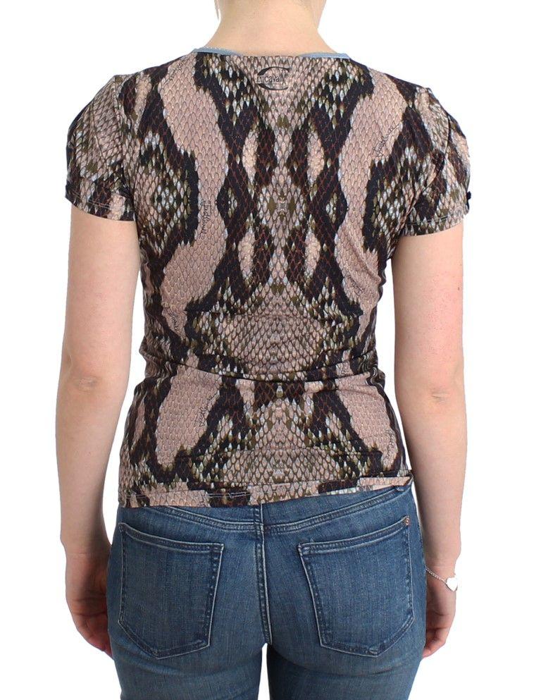 Cavalli Brown snake printed top