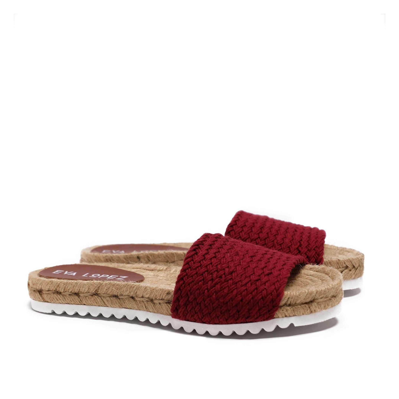 Flat Yute sandal for Women Red Shoes Eva Lopez