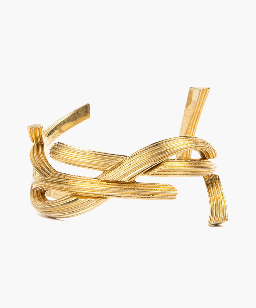 Gold-tone metal monogram shaped bracelet