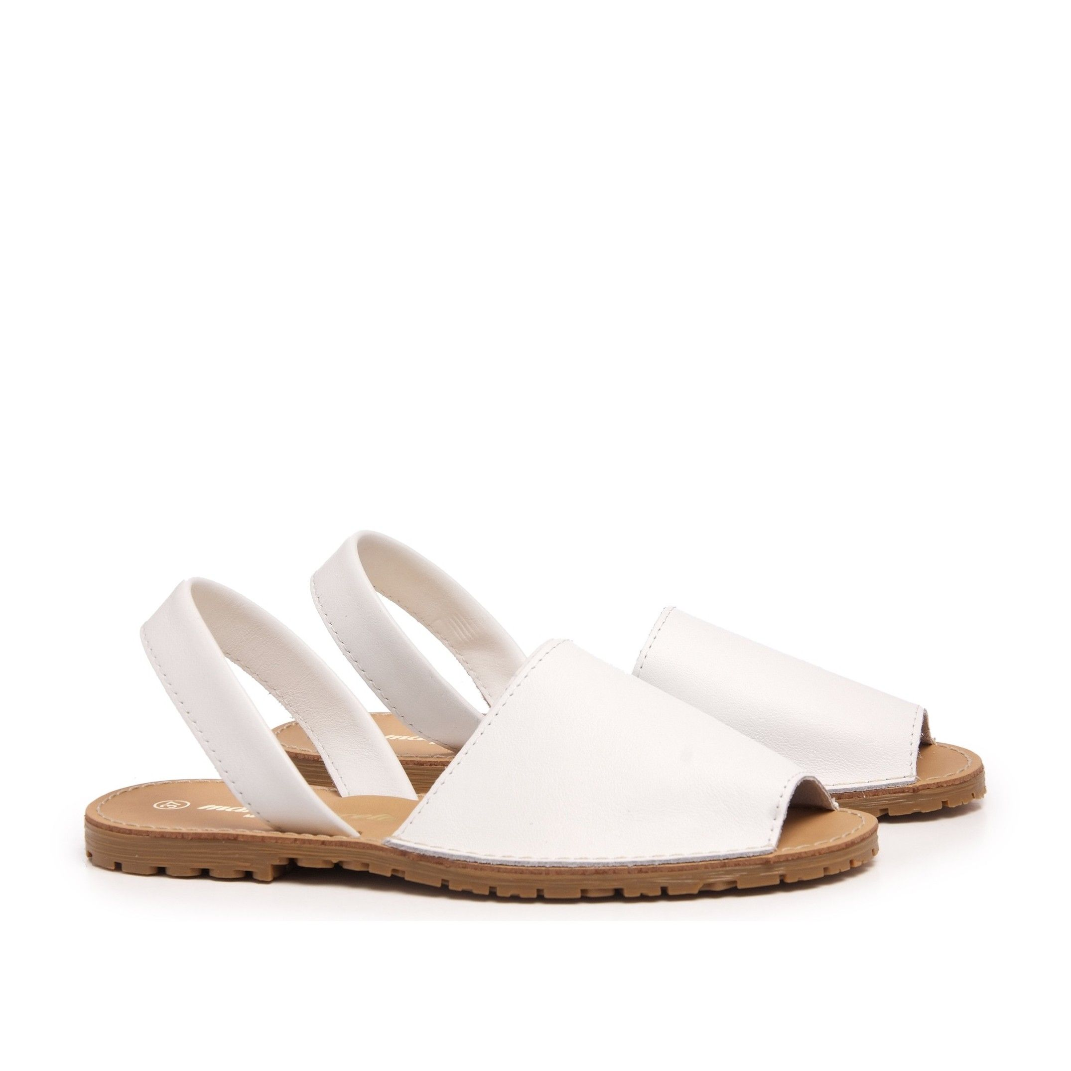 Classic leather sandal Menorquina for Women White Shoes Maria Barcelo