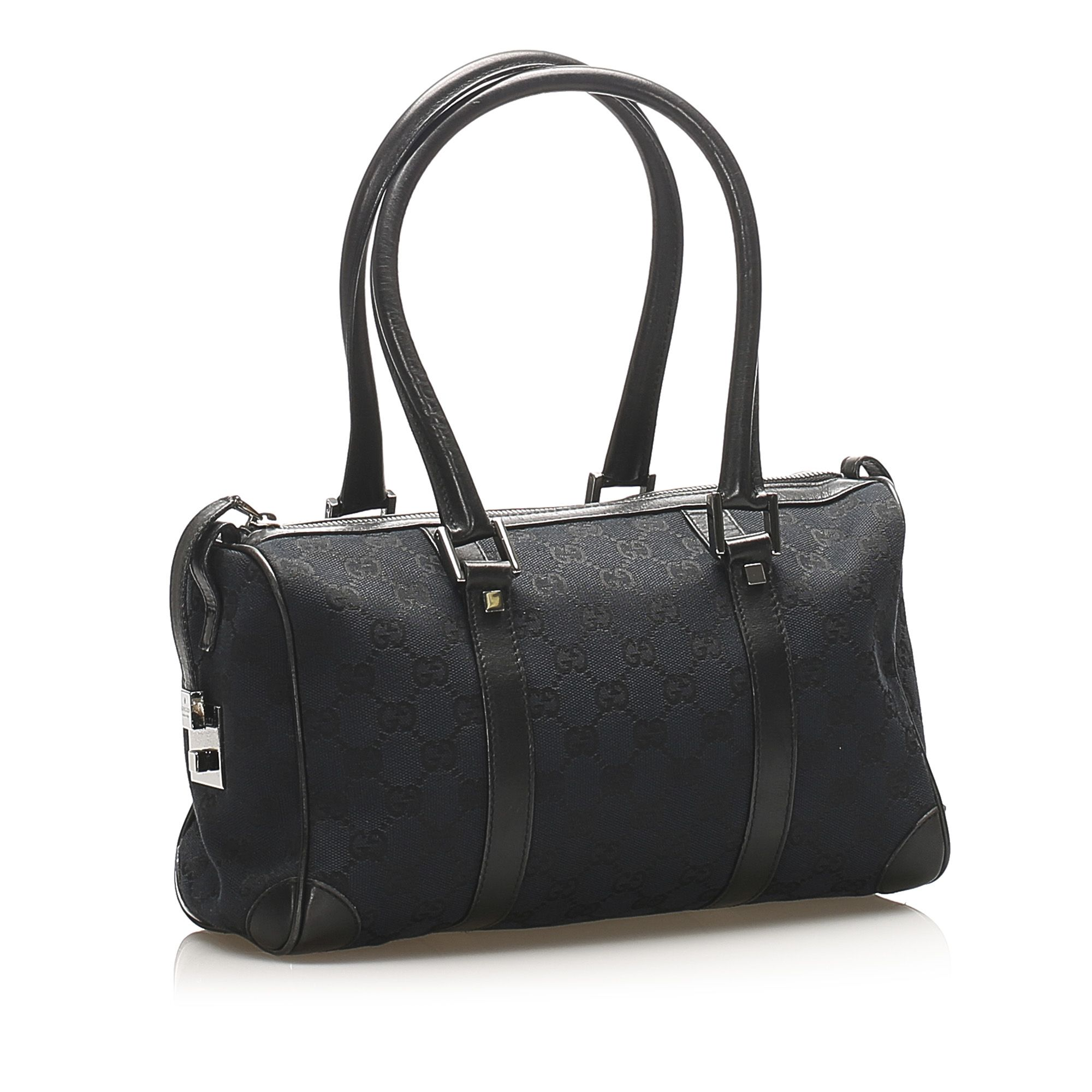 Vintage Gucci GG Canvas Boston Bag Black
