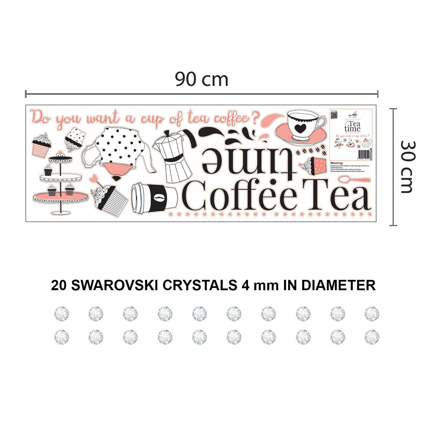 Combo of Coffee or Tea Time and Swarovski crystals Wall Stickers, Kitchen, Bathroom, Living room, Self-adhesive, Decal, Decoration, DIY