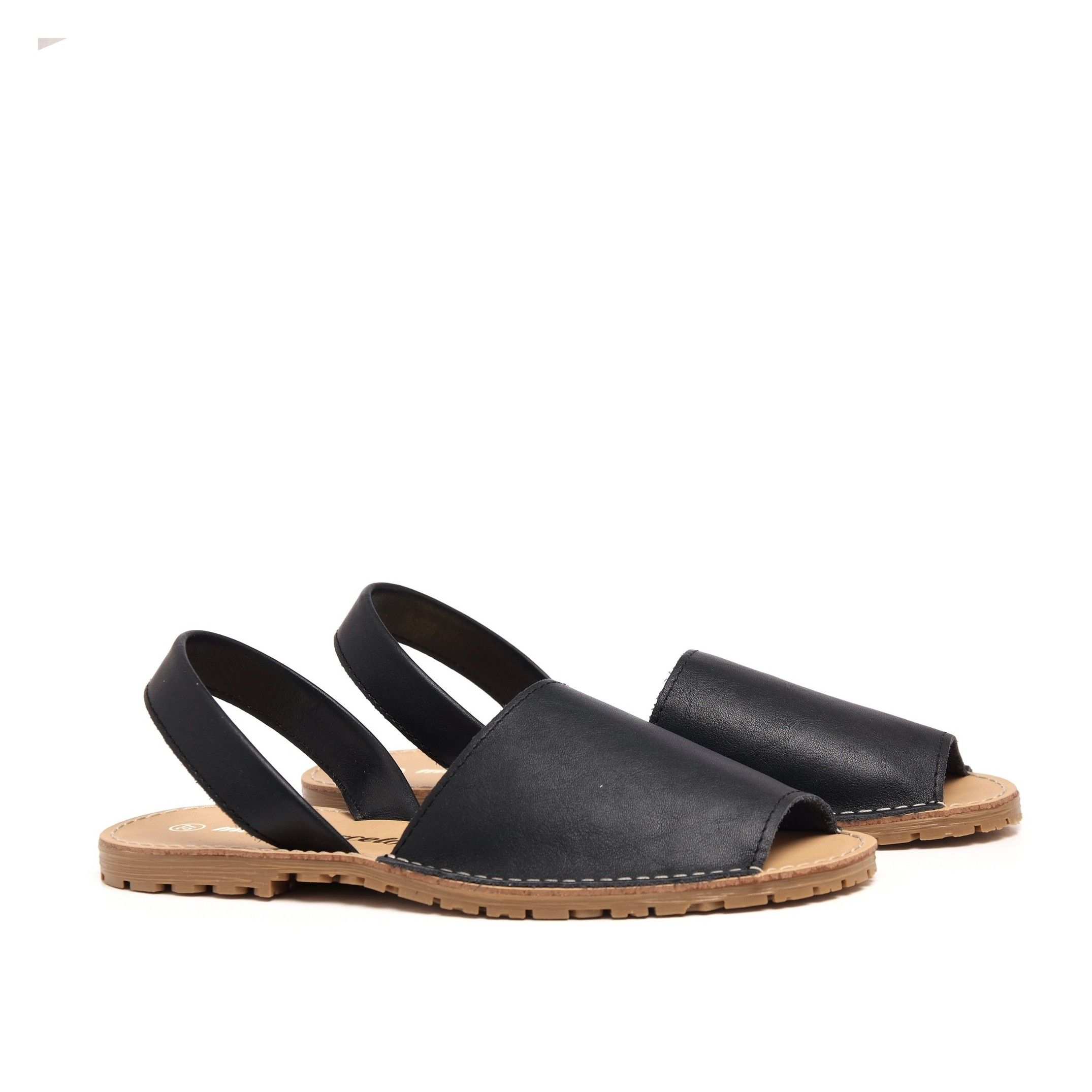 Classic leather sandal Menorquina for Women Navy Blue Shoes. Maria Barcelo