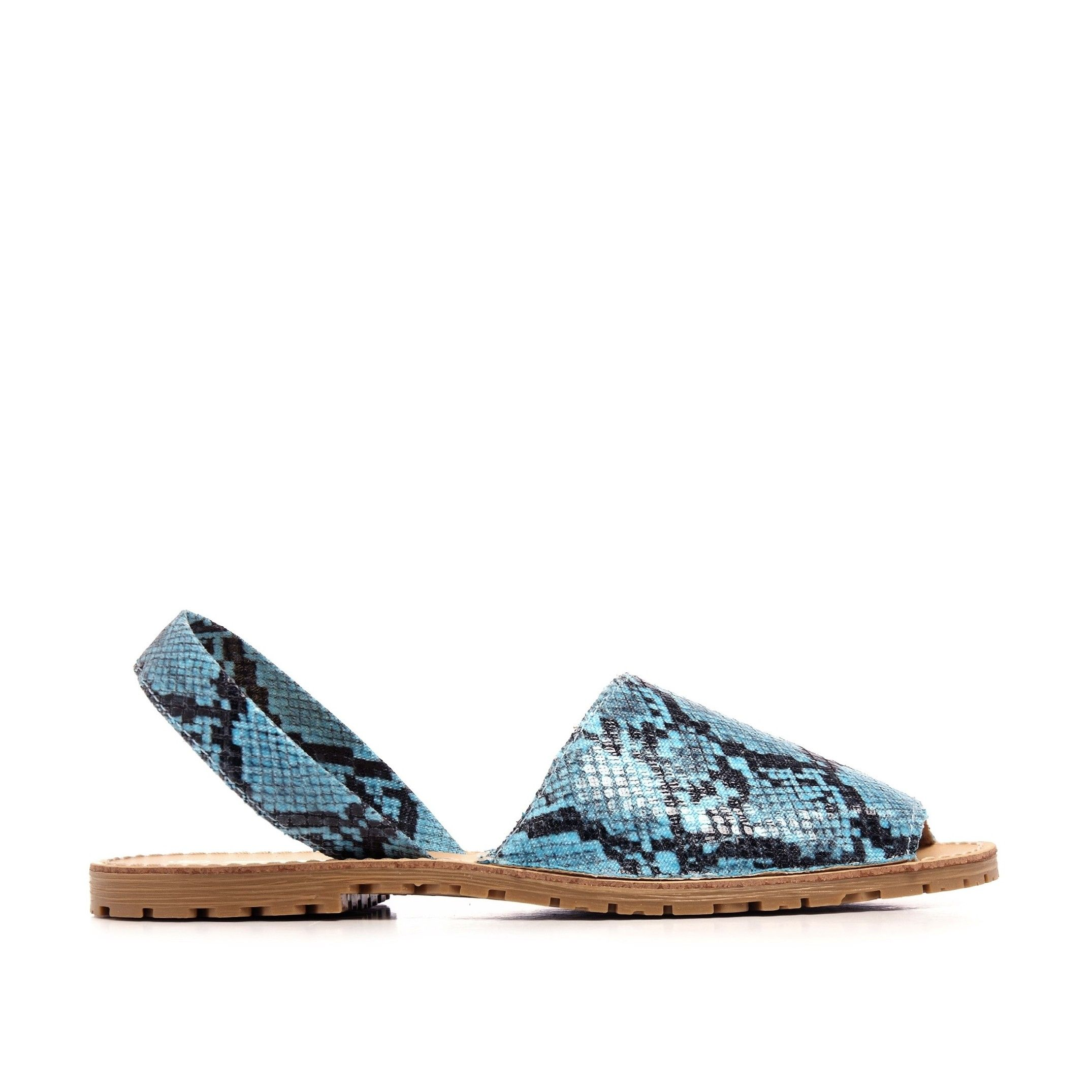 Classic Leather Sandal Menorquina for Women Blue Fluor snake. Maria Barcelo