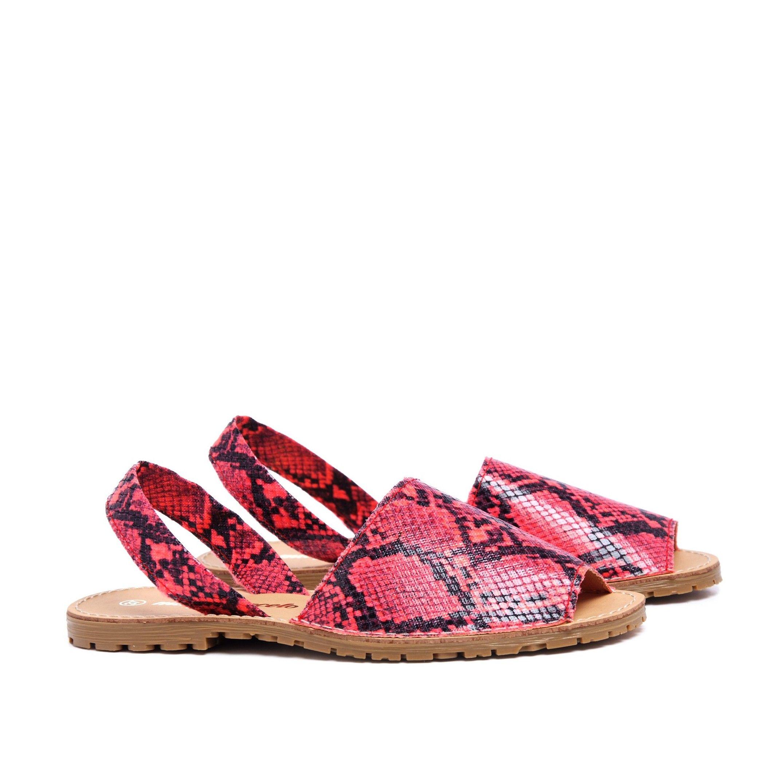 Classic Leather Sandal Menorquina for Women Fuchsia Fluor snake. Maria Barcelo