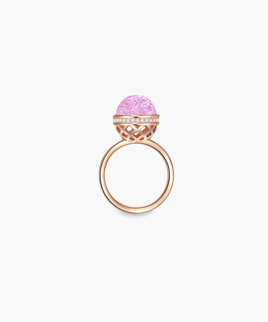 Rose gold-plated and facetted swarovski crystals ring